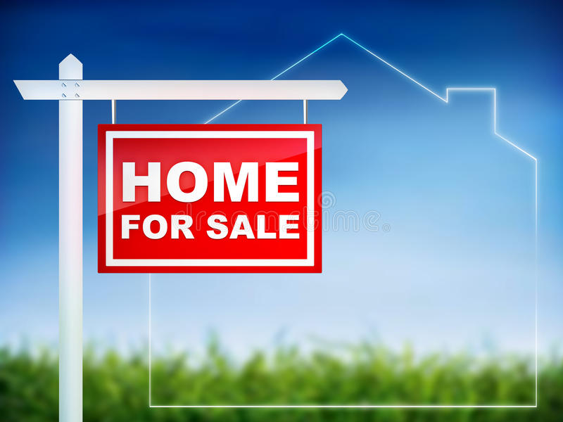 Huis voor verkoop stock illustratie illustratie bestaande for Huis aantrekkelijk maken voor verkoop