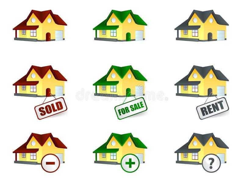 Huis voor verkoop en verkocht stock illustratie