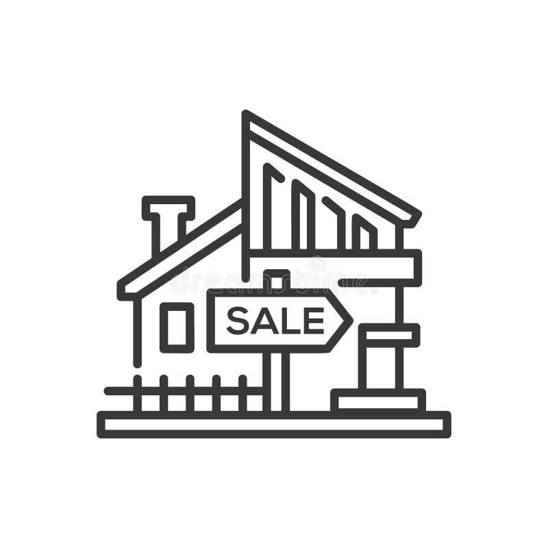 Huis voor verkoop - het enige geïsoleerde pictogram van het lijnontwerp royalty-vrije illustratie