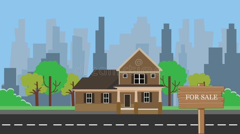 Huis voor verkoop met houten houten tekenraad vector illustratie