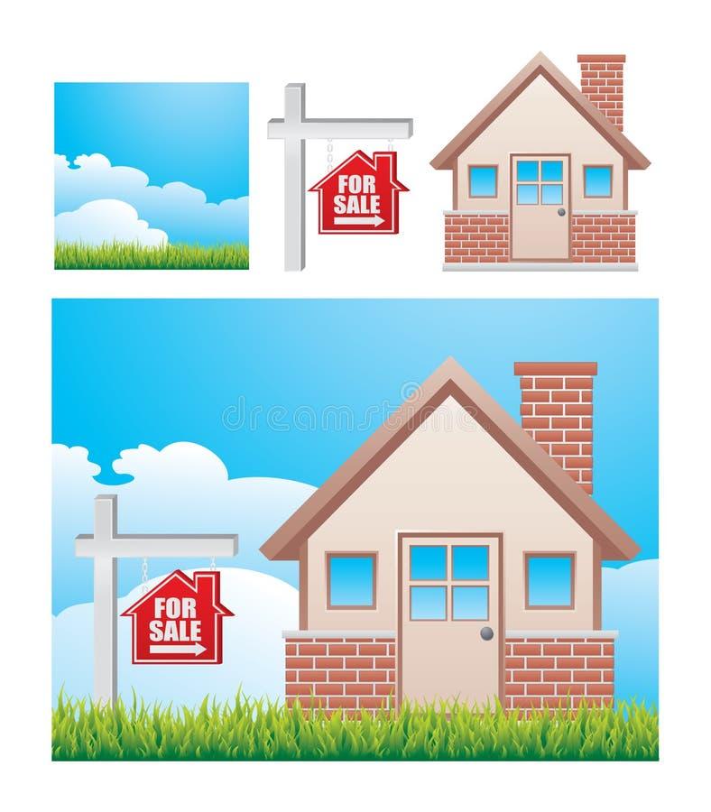 Huis voor verkooppictogrammen royalty-vrije illustratie