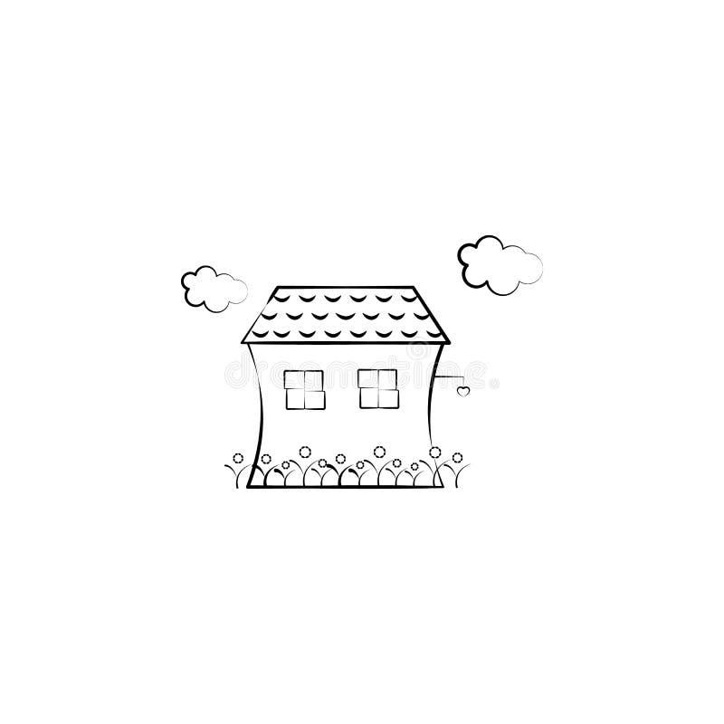 Huis, wolk, bloemenpictogram Element van hand getrokken Denkbeeldig huispictogram voor mobiele concept en webtoepassingen Hand ge vector illustratie