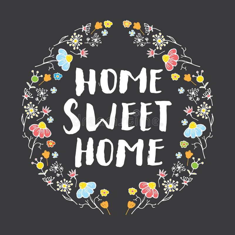 Huis zoet huis dat met de hand geschreven teken, Hand van letters voorziet getrokken grunge kalligrafische tekst vectorillustrati vector illustratie