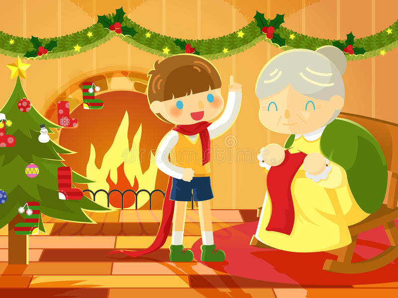 huis zoet huis, Aftelprocedure aan Kerstmisdag stock illustratie