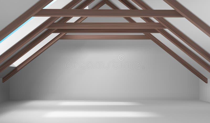 Huis zolder binnenlandse, lege mansard ruimte op dak vector illustratie