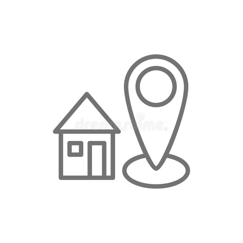 Huisadres, huis met bestemmingsteken, het pictogram van de geolocationlijn royalty-vrije illustratie