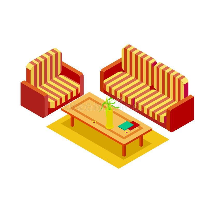 Huisbank en leunstoel met een isometrische koffietafel royalty-vrije illustratie