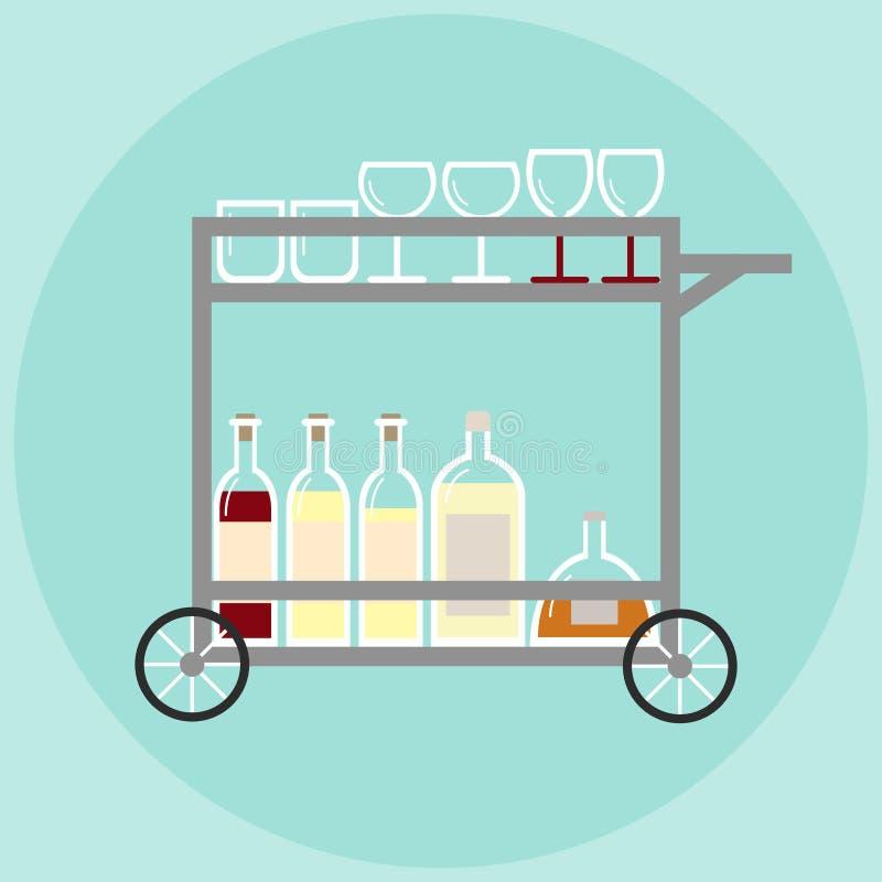 Huisbar op wielen in retro stijl met stemware en flessen alcohol vector illustratie