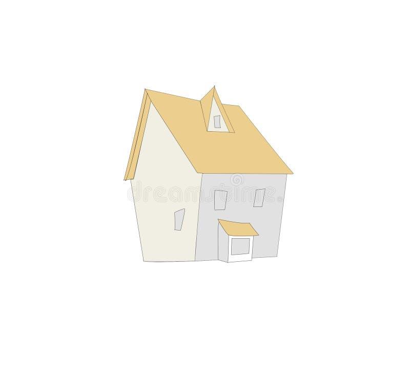 Huisbeeld met beige dak royalty-vrije stock fotografie