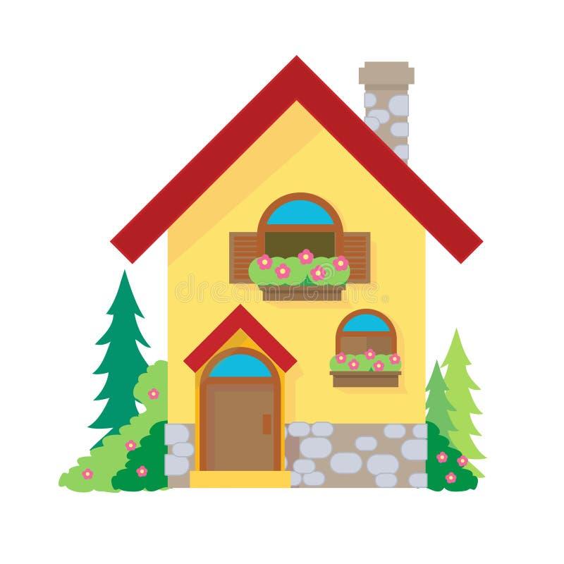 Huisbeeldverhaal of het beeldverhaal van huisclipart op witte achtergrond wordt geïsoleerd die stock illustratie