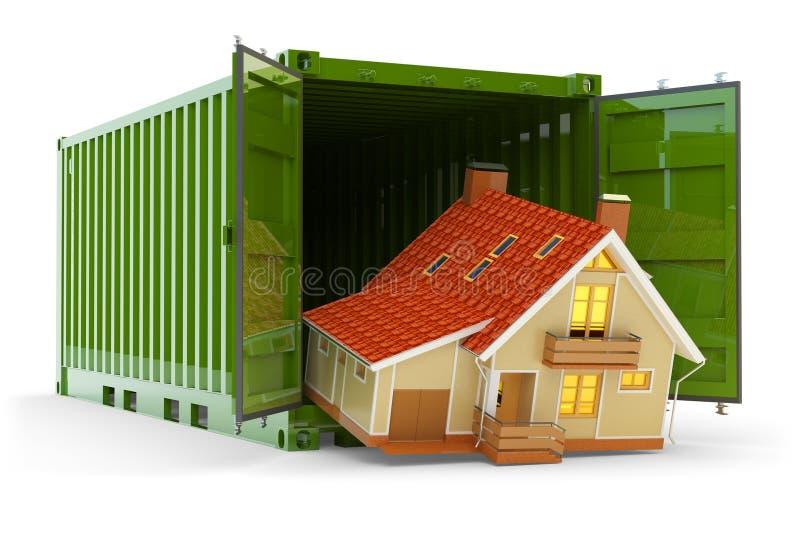 Huisbeweging, huisaankoop, vrachtvervoer en leveringsconcept royalty-vrije illustratie