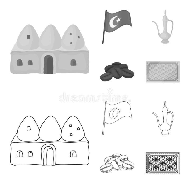 Huisbijenkorf, nationale vlag, het koper van de koffiepot, korrelskoffie Vastgestelde de inzamelingspictogrammen van Turkije in o vector illustratie