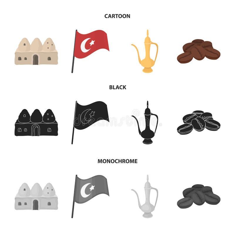 Huisbijenkorf, nationale vlag, het koper van de koffiepot, korrelskoffie Vastgestelde de inzamelingspictogrammen van Turkije in z royalty-vrije illustratie