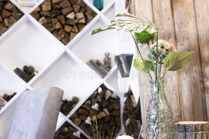 Huisbinnenland met installatie en ruitplank royalty-vrije stock foto