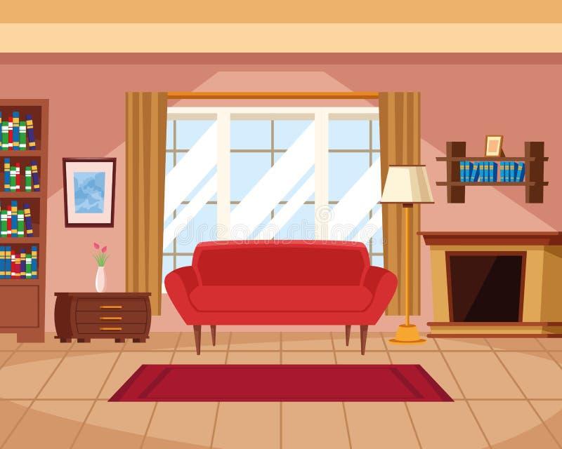 Huisbinnenland met meubilair stock illustratie