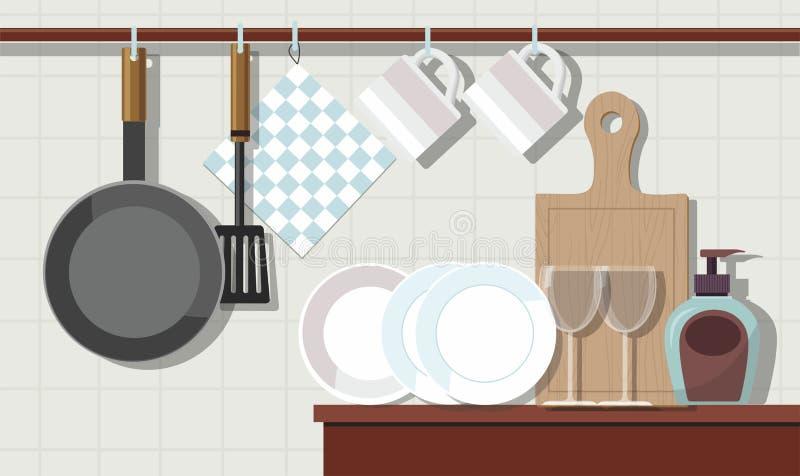 Huisbinnenland van keuken met meubilair en aardewerk stock illustratie