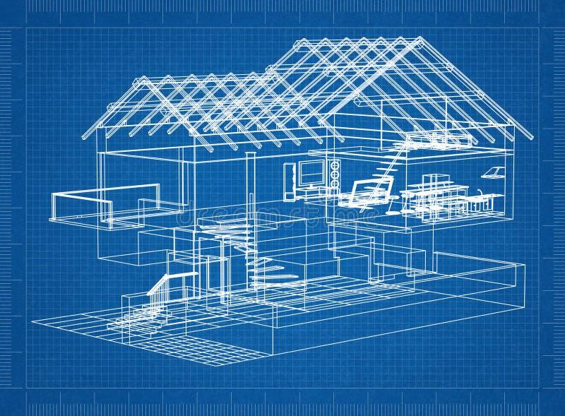 Huisblauwdruk stock afbeelding