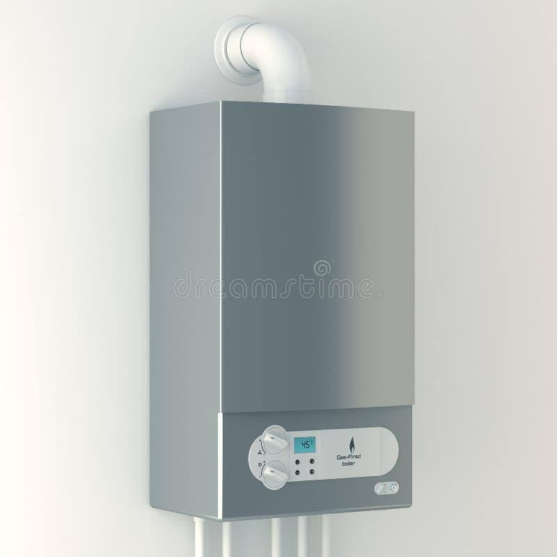 Huisboiler met gas. De installatie van gasmateriaal. stock illustratie