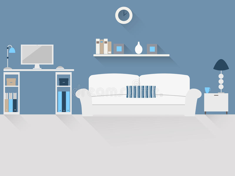 Huisbureau in een woonkamer stock foto