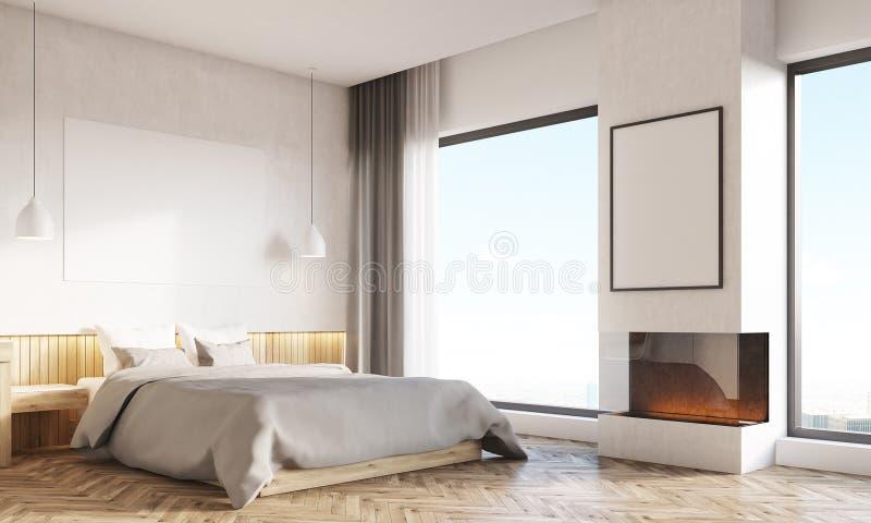 Huisbureau en hoofdslaapkamer met twee vensters vector illustratie