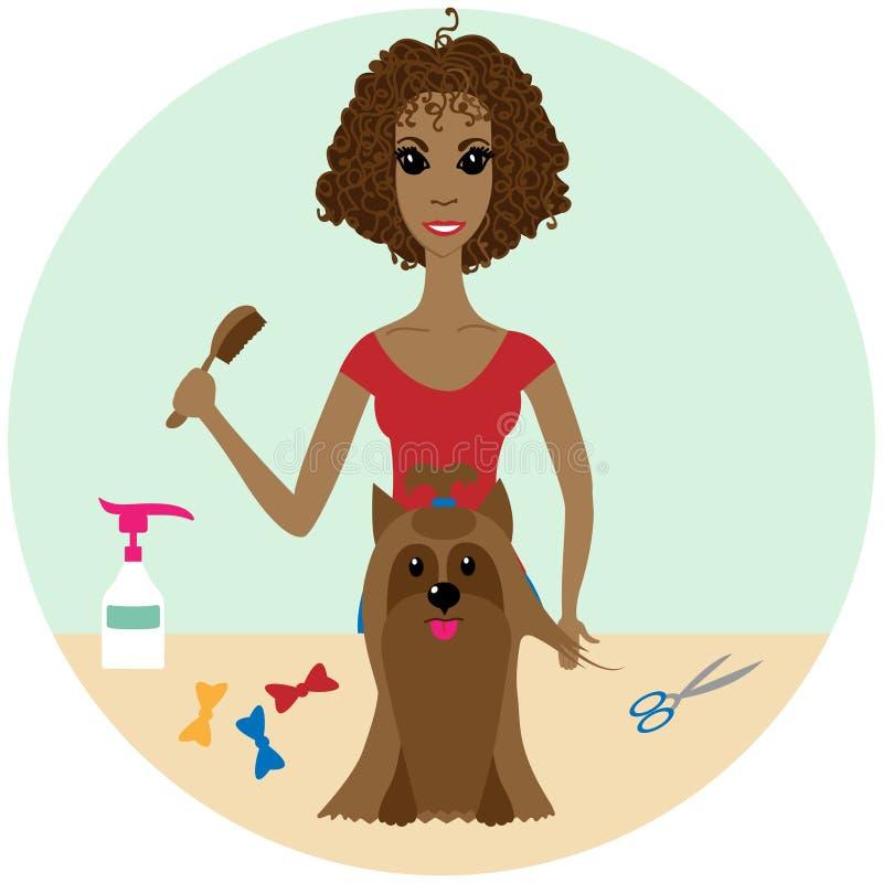 Huisdier Groomer die een Hond verzorgen bij de Salon stock illustratie