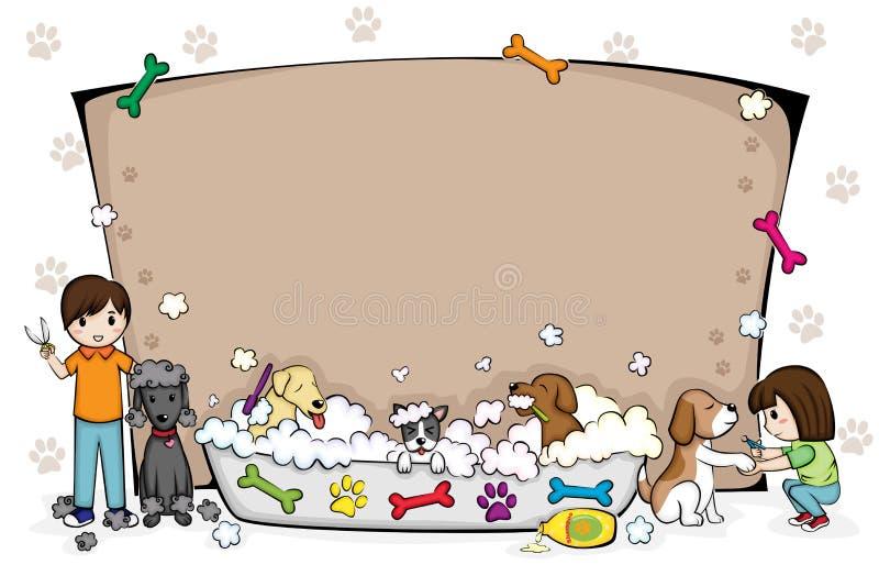 Huisdieren die salonbanner verzorgen royalty-vrije illustratie