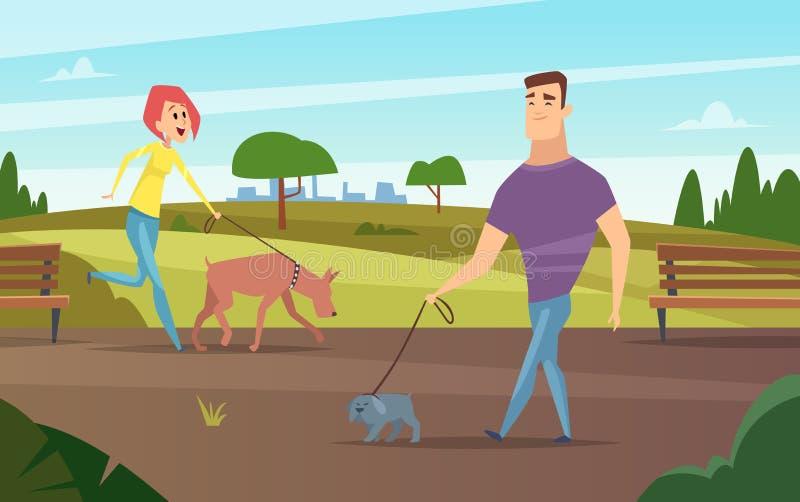Huisdieren het lopen Dieren gelukkige eigenaars openlucht in park die of met de vectorachtergrond van de hondenactiviteit lopen c vector illustratie