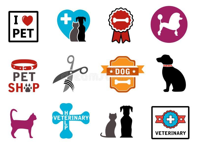 Huisdieren veterinaire pictogrammen stock illustratie
