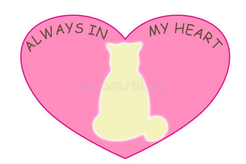 Huisdierengeest in een roze hartvorm op een witte achtergrond met de woorden altijd in mijn hart stock foto