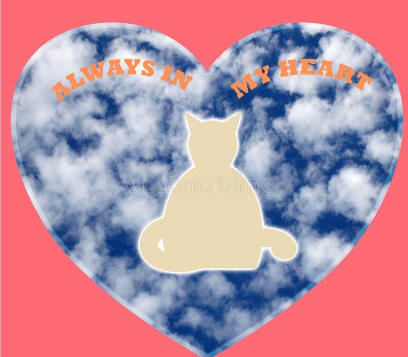 Huisdierengeest in een roze hartvorm op een witte achtergrond met de woorden altijd in mijn hart royalty-vrije stock afbeeldingen