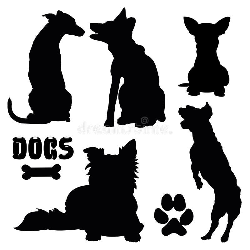 Huisdierenhonden, zwart silhouet - vectorinzameling stock illustratie