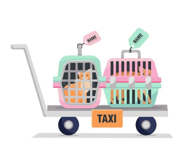 Huisdierentaxi Elementen van persoonlijke reiskooi met de zak van de kat Handvrachtwagen met Twee Plastic Dragers op witte achter vector illustratie
