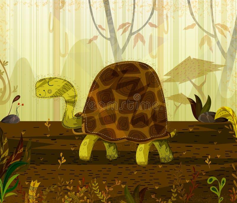 Huisdierschildpad op wildernis bosachtergrond vector illustratie