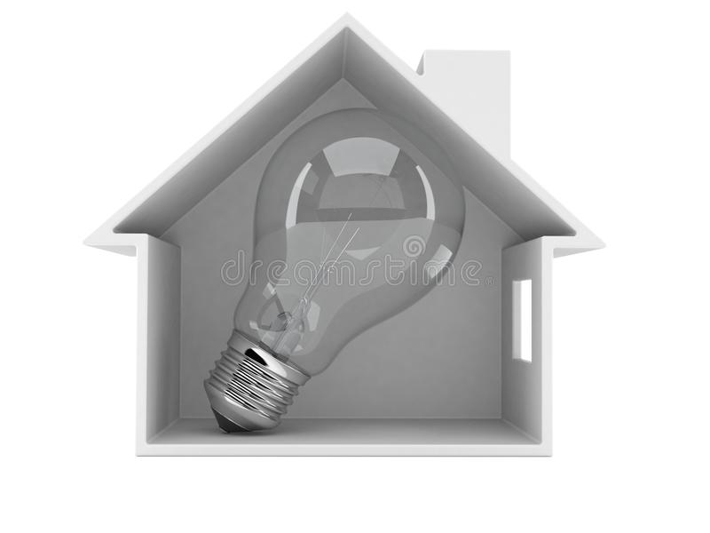 Huisdwarsdoorsnede met gloeilamp stock illustratie
