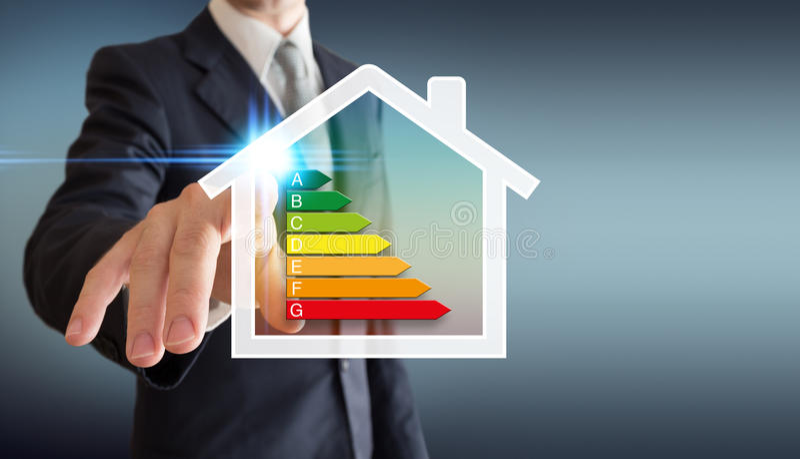 Huisenergetica - bedrijfsmens royalty-vrije stock afbeeldingen