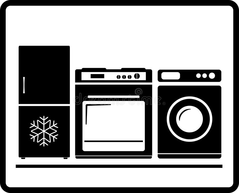 Huishoudapparaten - gasfornuis, ijskast, wa stock illustratie