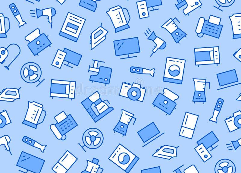 Huishoudapparaten, het Naadloze Patroon van de Elektronikaopslag met Lijnpictogram Vectorillustratie Vlakke Stijl Inbegrepen Pict royalty-vrije illustratie