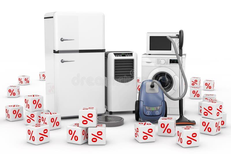 Huishoudapparaten met de Rode Kubussen die van Kortingspercenten worden geplaatst 3d ren vector illustratie