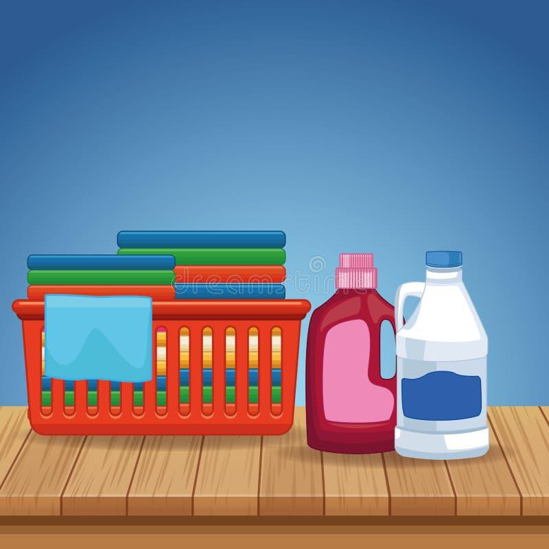 Huishouden en het schoonmaken uitrustingslevering royalty-vrije illustratie