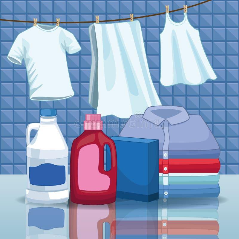 Huishouden en het schoonmaken uitrustingslevering stock illustratie