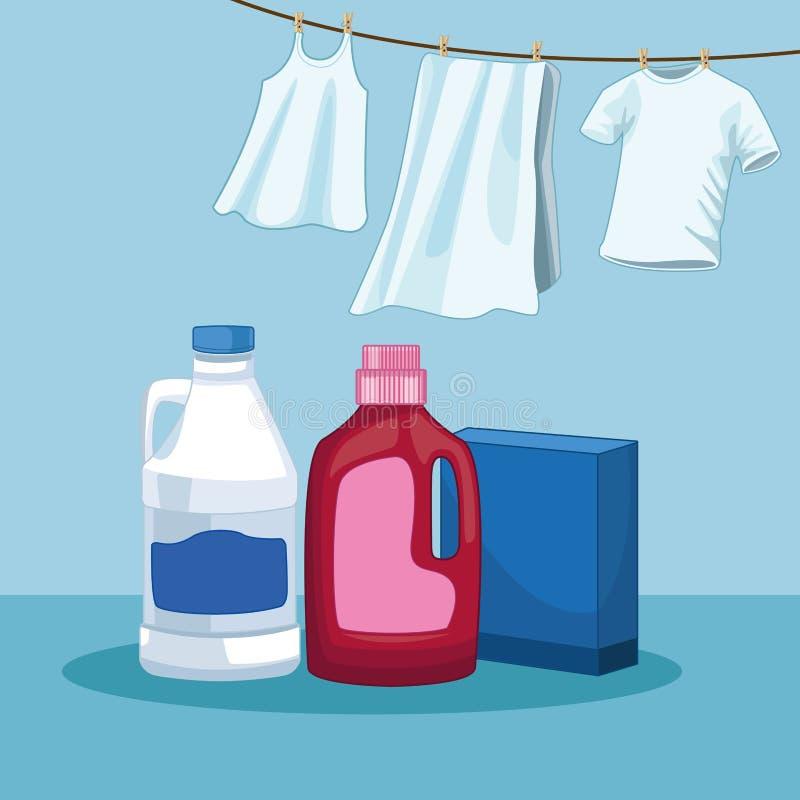Huishouden en het schoonmaken uitrustingslevering vector illustratie