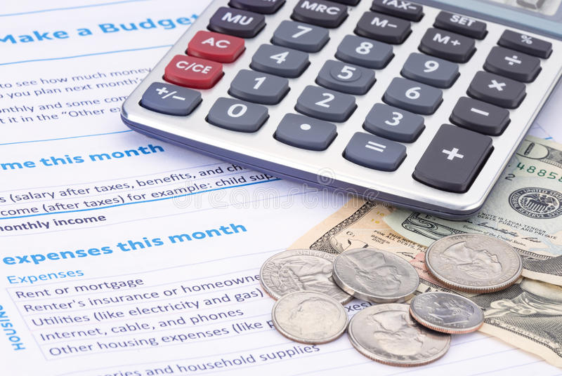 Huishoudenbegroting Planning stock foto's