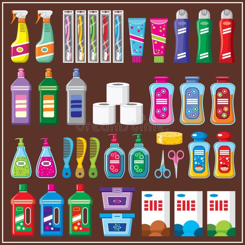 Huishoudenchemische producten stock illustratie