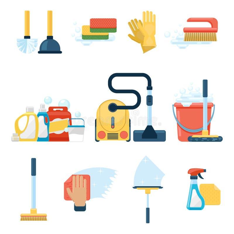 Huishoudenlevering en de schoonmakende vectortekens van hulpmiddelen vlakke pictogrammen vector illustratie