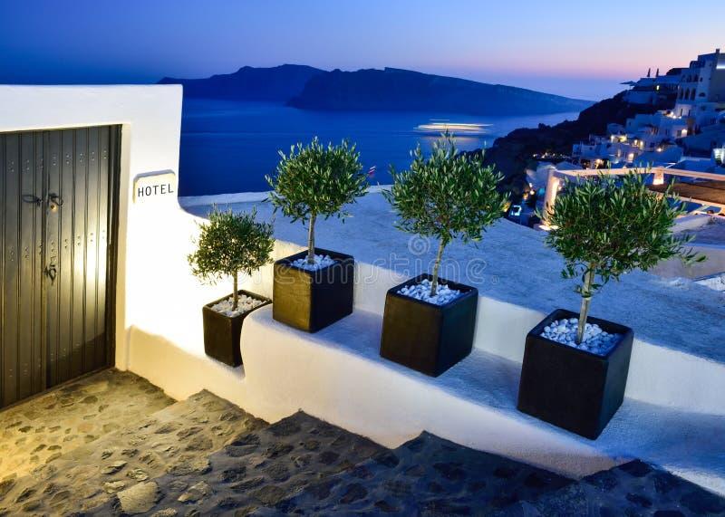 Huisingang op Santorini royalty-vrije stock afbeelding