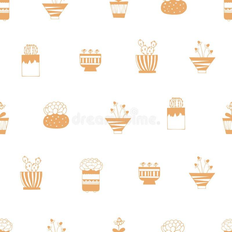 Huisinstallaties in potten met patronen op een witte achtergrond stock illustratie