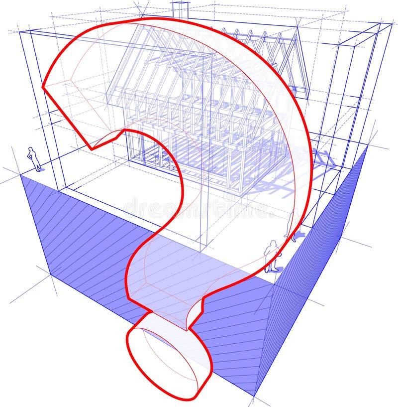 Huiskader met afmetingen en vraagtekendiagram vector illustratie