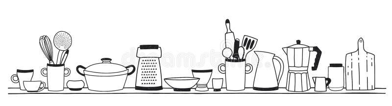 Huiskeukengerei voor het koken, hulpmiddelen voor voedselvoorbereiding of cookware status op plankenhand met zwarte wordt getrokk stock illustratie