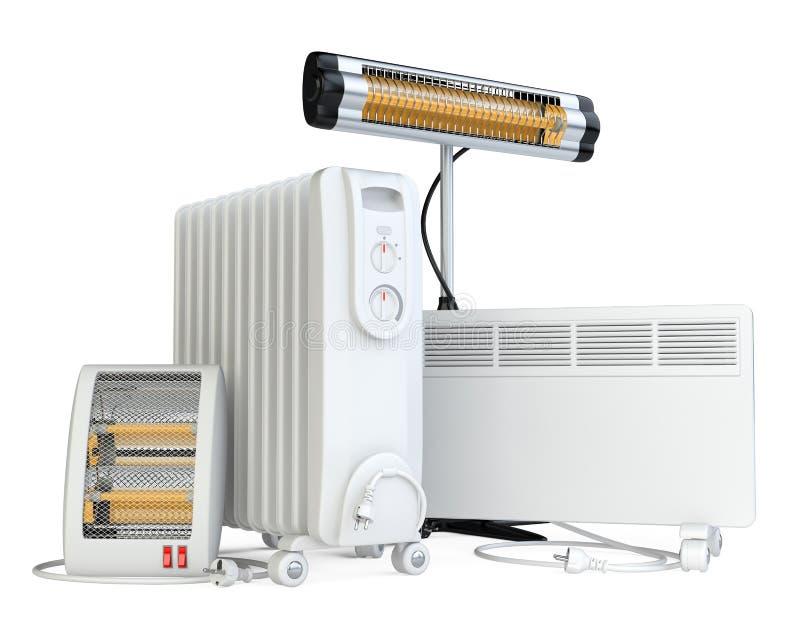 Huismateriaal om te verwarmen, halogeen, infrarood van kwartsverwarmer stock illustratie