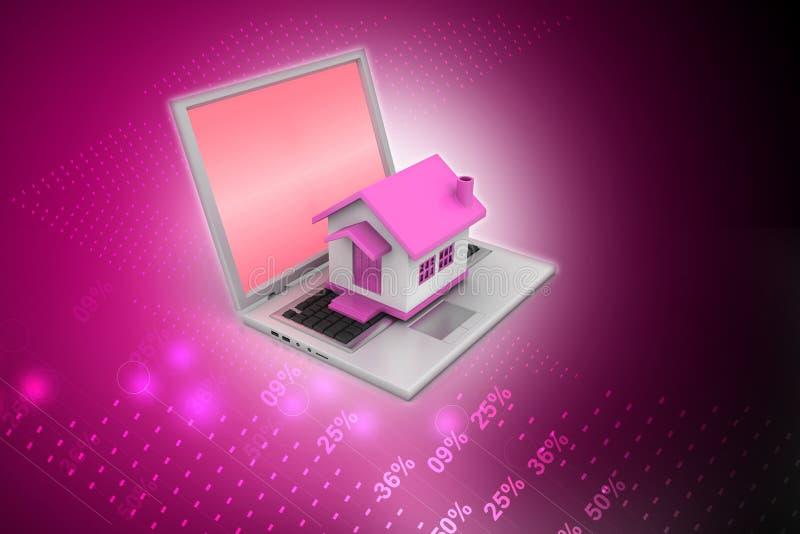 Huismodel op laptop vector illustratie